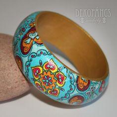 Türkizkék karkötő, Ékszer,Karkötő, decoupage, Meska, jewelry, bracelet, decoupage