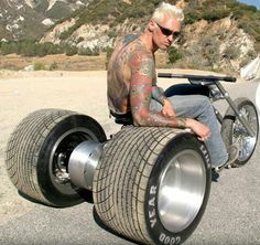 Russell Mitchell on the Exile Cycles trike. Custom Trikes, Custom Cars, Custom Rat Rods, Custom Choppers, Custom Street Bikes, Trike Motorcycle, Trike Chopper, Motorcycle Museum, Moped Scooter