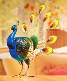 Love this Peacock Metal Fan on #zulily! #zulilyfinds