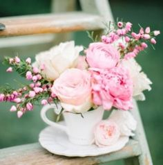 Flowers in a cup, pink, DIY