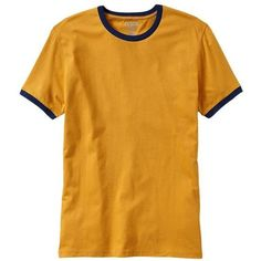 Old Navy Mens Classic Ringer Tees - Gold standard ($5.99) ❤ liked on Polyvore featuring men's fashion, men's clothing, men's shirts, men's t-shirts, mens short sleeve shirts, mens fitted t shirts, old navy mens shirts, mens gold shirt and mens jersey t shirt