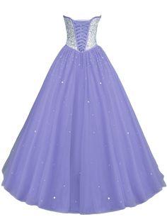 LovingDress Women's Prom Dresses Tulle Sweetheart Beaded Bodice Evening Dress-Lavender