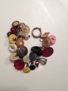 Dark Chocolate Vintage Button Bracelet Silhouette Jewelry design FB
