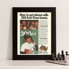 Old Phone Sign  Funny Baseball Ad  Cordless Phone Advertisement  Home Decor Picture  Baseball Picture  Retro Phone Tech Advertising by RetroPapers