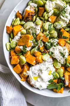 Garlic Lima Bean Salad with sweet potatoes and burrata cheese | thealmondeater.com