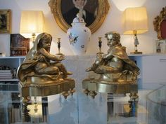 Pair of French Gilt Bronze fireplace chenets, dated at about 1870 from chateau on Ruby Lane