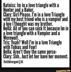 Hunger games, twilight, the mortal instruments and divergent Divergent Hunger Games, Divergent Series, Divergent Funny, Book Memes, Book Quotes, True Quotes, Good Books, My Books, Fandom Crossover
