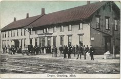 DEPOT Grayling MI Crawford County Railroad Depot and Telegraph Office Detroit & Mackinac Railway RR Depot EC Kropp Card Unsent Photographer Unknown by UpNorth Memories - Donald (Don) Harrison, via Flickr