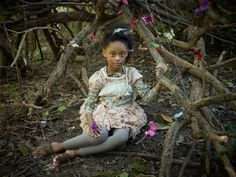 Katrina Tang Photography for MilK magazine Deep Forest AW 12 kids fashion. Girl sitting between tree roots, butterflies, magic #katrinatang #tangkatrina