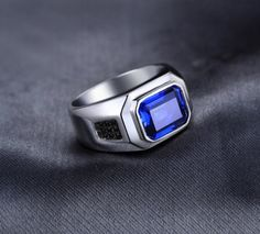 JewelryPalace Creation Sapphire Engagement Wedding Ring For Men Solid 925 Sterling Silver Vintage Charm Brand Fine Jewelry. Mens Ring Designs, Pierre Turquoise, Mens Gemstone Rings, Gents Ring, Engagement Rings For Men, Silver Gifts, Sterling Silver Rings, Silver Jewelry, Fine Jewelry