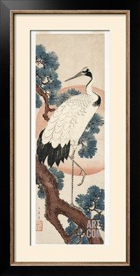 Crane in Pine Tree at Sunrise, 1850-55 Giclee Print by Utagawa Hiroshige at Art.com