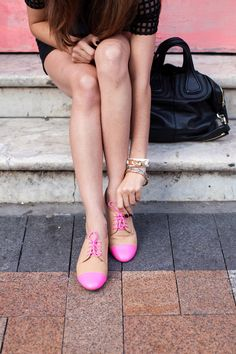 hot pink accented oxfords