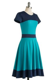 Nothing Like the Wheel Thing Dress in Teal, #ModCloth