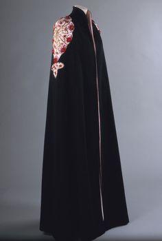 Spring 1937, France - Evening Cape by Elsa Schiaparelli - Fulled wool, silk taffeta, metallic thread embroidery, glass buttons