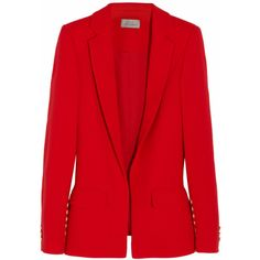 Preen by Thornton Bregazzi Ara wool-crepe blazer ($708) ❤ liked on Polyvore featuring outerwear, jackets, blazers, tops, coats, red, crepe jacket, woolen jackets, red wool jacket and red blazer jacket