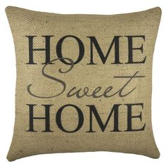 Home Sweet Home Burlap 18-inch Throw Pillow (Home Sweet Home Burlap Pillow), Black, Size 18 x 18 (Jute, Graphic Print)