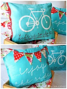 Bunting on the throw pillow...for guest bedroom someday??