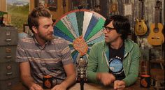 Link is shirt strangling Rhett in an episode of Good Mythical More.