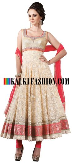 Buy Online from the link below. We ship worldwide (Free Shipping over US$100) http://www.kalkifashion.com/off-white-anarkali-suit-with-resham-and-zari-work-all-over-8493.html Off white anarkali suit with resham and zari work all over