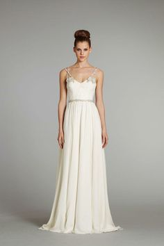 Hayley Paige | Fall 2012 | Style: Nina | Ivory Silk georgette Grecian draped bridal gown with crystal floral beaded straps and crisscross tulle detailing at center back with chapel train. www.wedsociety.com #wedding #fashion