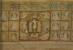 Altar curtain, Halberstadt Cathedral Museum. Lower Saxony. Late 13th-Early 14th C. Niedersächsische Bildstickereien des Mittelalters 1150-1450 by Renate Kroos in 1970