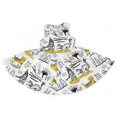 Thief&Bandit x Roxy Marj Collaborative Print Twirling Dress in Yellow Ochre and Black on White