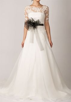 Strapless A-line Cathedral Train Scalloped Edge Wedding Dress....not so sure about that giant bow/sash...but love the gown
