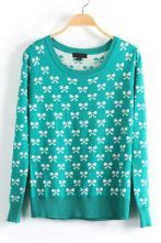 Green Long Sleeve Bow Print Pullovers Sweater $40.4