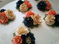 Corsages - Boutonnieres - Paper Flowers - Weddings - Bridal Shower - Baby Shower - Salmon and Midnight - Made To Order
