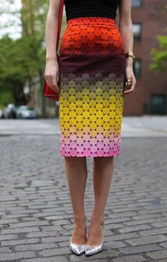 Multi-color pencil skirt—a perfect look for Spring.