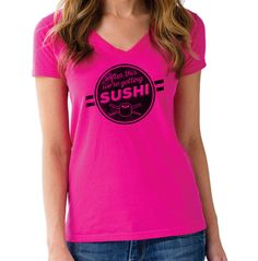 Women's After This We're Getting Sushi Vneck T-Shirt - Juniors Fit