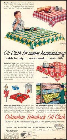 Columbus Blenback Oil Cloth advertisement of Purchased by the yard at 5 stores, my mother used in her country kitchen as table cloths and behind the stove.