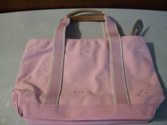 Pink LL Bean Lobster Embroidered Cotton Canvas Tote Bag Handbag Purse Preppy
