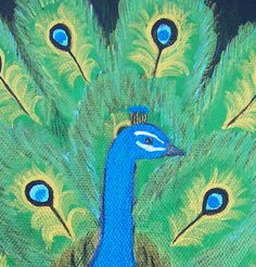 Metallic Peacock Acrylic Painting  9 x 12 by AnnetteBailey on Etsy