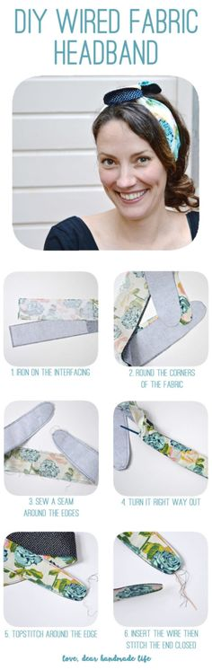 DIY headband with wire DIY Wired Fabric Headband from Dear Handmade Life Easy Sewing Projects, Sewing Projects For Beginners, Diy Craft Projects, Headband Tutorial, Headband Pattern, Bow Tutorial, Flower Tutorial, Fabric Headbands, Handmade Headbands