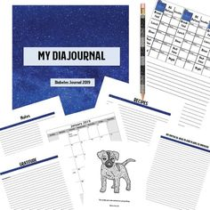 Type 1 Diabetes Journal 2019, Diabetes Blood Sugar Log, Monthly Calendar, Cosmic Blue Glucose Tracker Diabetes Printable Planner Journal Kit Puppy Coloring Pages, Coloring Pages For Kids, Coloring Books, Book Cover Design, Book Design, Design Ideas, Diabetic Log Book, Diabetes Journal, Thing 1
