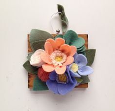 Felt Flowers // Wall art // Miniature Plaque by MillStreetMakes