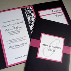 Pocketfold Wedding Invitation Sample Package In Dark Pink And Black Damask From Invites By Jen