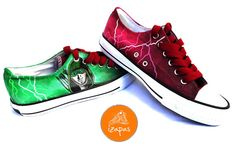 Hand Painted Flash & Green Arrow Sneakers by izapas on Etsy