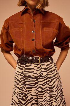 Soeur Mathilde Shirt - Rust | Garmentory Short Beige, French Brands, Retro Chic, Mannequin, Fabric Material, Corduroy, Dress To Impress, Winter Fashion, Mini Skirts