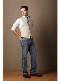 Handsome Business Casual Look For The Hubby! Like the jeans with vest look!