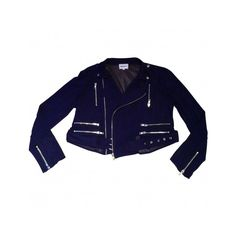 Pre-owned American Retro Jackets ($122) ❤ liked on Polyvore featuring outerwear, jackets, sheer jacket, blue jackets, fitted jacket and american retro