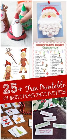Fun & free printable Christmas activities!! Use them each day to countdown to Christmas or as a fun way to keep kids creative & reading during the holidays!