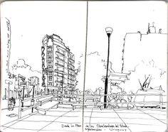 """""""Desde la plaza de las obras sanitarias del Estado - Montevideo - Uruguay"""" Urban Sketchers"""