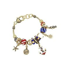 SeaLife Nautical Bracelet in Gold ($52) ❤ liked on Polyvore featuring jewelry, bracelets, beaded jewelry, anchor jewelry, anchor charm, beads jewellery and gold seahorse charm