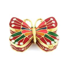 """""""Red #Butterfly Keepsake Box Item No. KB00125A01 $25.89 This Faberge style trinket box is constructed from a pewter base. The box is hand enameled, and decorated with Austrian crystals. This box is hinged, and features a magnet for a clasp. The magnet enables the box to open easily, but close firmly. The box is great just for display, for holding or giving as a gift a small piece of jewelry, or for some of your memorable items. N Special Gifts, Great Gifts, Red Butterfly, Jewel Box, Austrian Crystal, Keepsake Boxes, Trinket Boxes, Small Gifts, Pewter"""