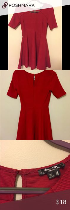 """Red skater dress, perfect for holiday parties! Red skater dress from Sequin Hearts. Perfect for a holiday party! Goes down about 2"""" past mid thigh (I'm 5'6"""") Sequin Hearts Dresses Long Sleeve"""