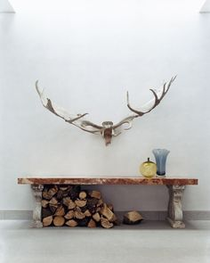 Antlers and firewood.