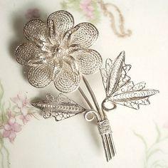 Vintage 990 Silver Filigree Flower Brooch    AestheticsAndOldLace - Jewelry on ArtFire