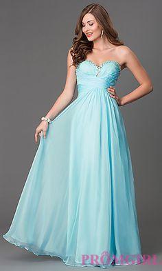 Long Mint Strapless Prom Dress at PromGirl.com
